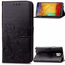 Embossing Imprint Four-Leaf Clover Leather Wallet Case for Samsung Galaxy Note 3 - Black