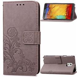 Embossing Imprint Four-Leaf Clover Leather Wallet Case for Samsung Galaxy Note 3 - Gray