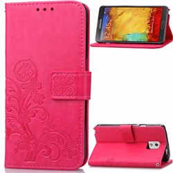Embossing Imprint Four-Leaf Clover Leather Wallet Case for Samsung Galaxy Note 3 - Rose