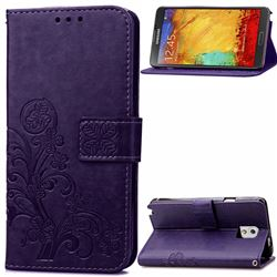 Embossing Imprint Four-Leaf Clover Leather Wallet Case for Samsung Galaxy Note 3 - Purple
