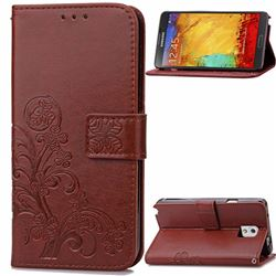 Embossing Imprint Four-Leaf Clover Leather Wallet Case for Samsung Galaxy Note 3 - Brown