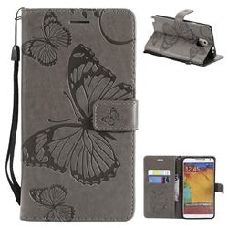 Embossing 3D Butterfly Leather Wallet Case for Samsung Galaxy Note 3 N900 - Gray