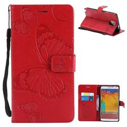 Embossing 3D Butterfly Leather Wallet Case for Samsung Galaxy Note 3 N900 - Red