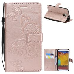 Embossing 3D Butterfly Leather Wallet Case for Samsung Galaxy Note 3 N900 - Rose Gold