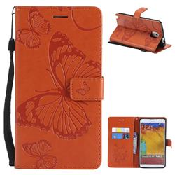 Embossing 3D Butterfly Leather Wallet Case for Samsung Galaxy Note 3 N900 - Orange