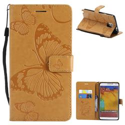 Embossing 3D Butterfly Leather Wallet Case for Samsung Galaxy Note 3 N900 - Yellow
