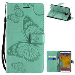 Embossing 3D Butterfly Leather Wallet Case for Samsung Galaxy Note 3 N900 - Green