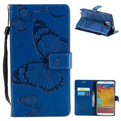 Embossing 3D Butterfly Leather Wallet Case for Samsung Galaxy Note 3 N900 - Blue