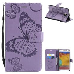 Embossing 3D Butterfly Leather Wallet Case for Samsung Galaxy Note 3 N900 - Purple