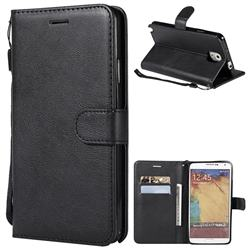 Retro Greek Classic Smooth PU Leather Wallet Phone Case for Samsung Galaxy Note 3 N900 - Black