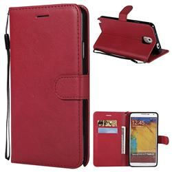 Retro Greek Classic Smooth PU Leather Wallet Phone Case for Samsung Galaxy Note 3 N900 - Red