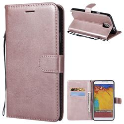 Retro Greek Classic Smooth PU Leather Wallet Phone Case for Samsung Galaxy Note 3 N900 - Rose Gold