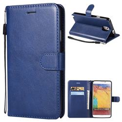 Retro Greek Classic Smooth PU Leather Wallet Phone Case for Samsung Galaxy Note 3 N900 - Blue