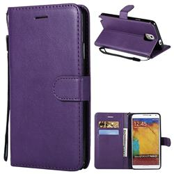 Retro Greek Classic Smooth PU Leather Wallet Phone Case for Samsung Galaxy Note 3 N900 - Purple