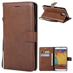 Retro Greek Classic Smooth PU Leather Wallet Phone Case for Samsung Galaxy Note 3 N900 - Brown
