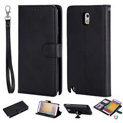 Retro Greek Detachable Magnetic PU Leather Wallet Phone Case for Samsung Galaxy Note 3 N900 - Black