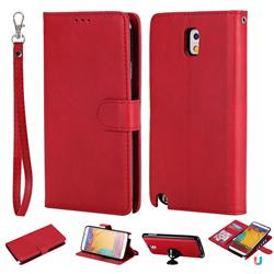 Retro Greek Detachable Magnetic PU Leather Wallet Phone Case for Samsung Galaxy Note 3 N900 - Red