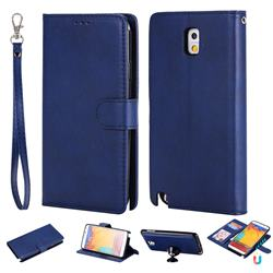 Retro Greek Detachable Magnetic PU Leather Wallet Phone Case for Samsung Galaxy Note 3 N900 - Blue