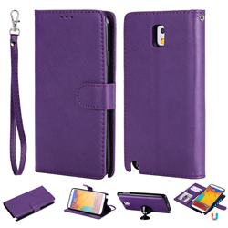 Retro Greek Detachable Magnetic PU Leather Wallet Phone Case for Samsung Galaxy Note 3 N900 - Purple
