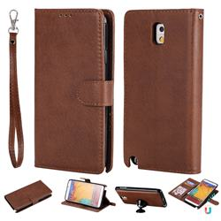 Retro Greek Detachable Magnetic PU Leather Wallet Phone Case for Samsung Galaxy Note 3 N900 - Brown