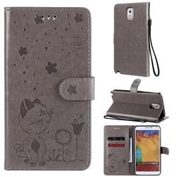 Embossing Bee and Cat Leather Wallet Case for Samsung Galaxy Note 3 N900 - Gray
