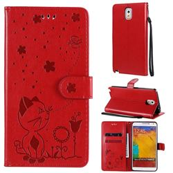 Embossing Bee and Cat Leather Wallet Case for Samsung Galaxy Note 3 N900 - Red