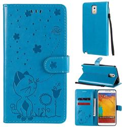 Embossing Bee and Cat Leather Wallet Case for Samsung Galaxy Note 3 N900 - Blue