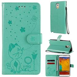 Embossing Bee and Cat Leather Wallet Case for Samsung Galaxy Note 3 N900 - Green