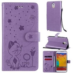Embossing Bee and Cat Leather Wallet Case for Samsung Galaxy Note 3 N900 - Purple