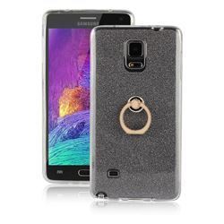 Luxury Soft TPU Glitter Back Ring Cover with 360 Rotate Finger Holder Buckle for Samsung Galaxy Note 4 - Black