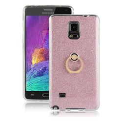 Luxury Soft TPU Glitter Back Ring Cover with 360 Rotate Finger Holder Buckle for Samsung Galaxy Note 4 - Pink