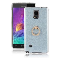 Luxury Soft TPU Glitter Back Ring Cover with 360 Rotate Finger Holder Buckle for Samsung Galaxy Note 4 - Blue