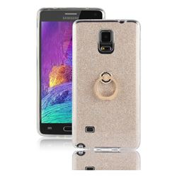 Luxury Soft TPU Glitter Back Ring Cover with 360 Rotate Finger Holder Buckle for Samsung Galaxy Note 4 - Golden