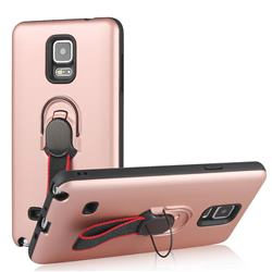 Raytheon Multi-function Ribbon Stand Back Cover for Samsung Galaxy Note 4 - Rose Gold