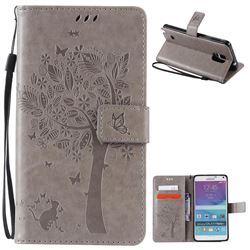 Embossing Butterfly Tree Leather Wallet Case for Samsung Galaxy Note 4 N910 - Grey