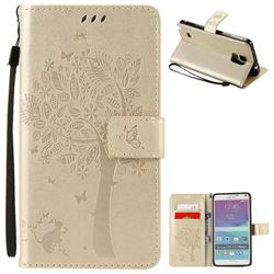Embossing Butterfly Tree Leather Wallet Case for Samsung Galaxy Note 4 N910 - Champagne