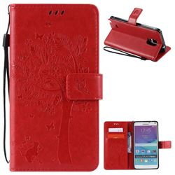 Embossing Butterfly Tree Leather Wallet Case for Samsung Galaxy Note 4 N910 - Red