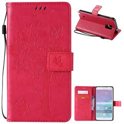 Embossing Butterfly Tree Leather Wallet Case for Samsung Galaxy Note 4 N910 - Rose