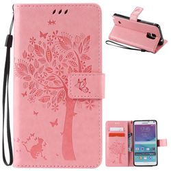 Embossing Butterfly Tree Leather Wallet Case for Samsung Galaxy Note 4 N910 - Pink
