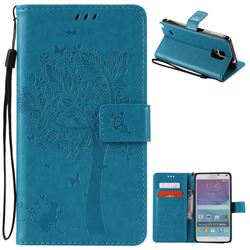 Embossing Butterfly Tree Leather Wallet Case for Samsung Galaxy Note 4 N910 - Blue