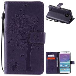Embossing Butterfly Tree Leather Wallet Case for Samsung Galaxy Note 4 N910 - Purple