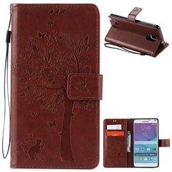 Embossing Butterfly Tree Leather Wallet Case for Samsung Galaxy Note 4 N910 - Brown