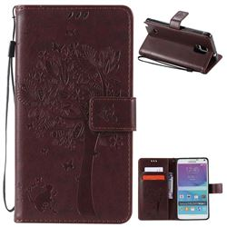 Embossing Butterfly Tree Leather Wallet Case for Samsung Galaxy Note 4 N910 - Coffee
