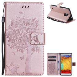 Embossing Butterfly Tree Leather Wallet Case for Samsung Galaxy Note4 - Rose Pink