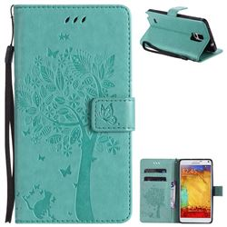 Embossing Butterfly Tree Leather Wallet Case for Samsung Galaxy Note4 - Cyan