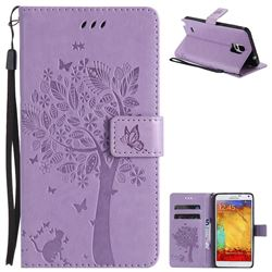 Embossing Butterfly Tree Leather Wallet Case for Samsung Galaxy Note4 - Violet