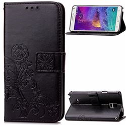 Embossing Imprint Four-Leaf Clover Leather Wallet Case for Samsung Galaxy Note 4 - Black