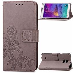 Embossing Imprint Four-Leaf Clover Leather Wallet Case for Samsung Galaxy Note 4 - Gray