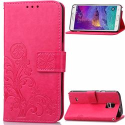 Embossing Imprint Four-Leaf Clover Leather Wallet Case for Samsung Galaxy Note 4 - Rose