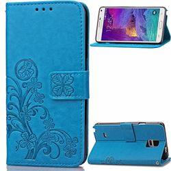 Embossing Imprint Four-Leaf Clover Leather Wallet Case for Samsung Galaxy Note 4 - Blue